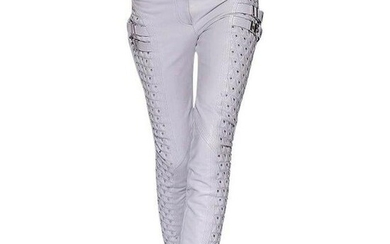 New VERSACE White Studded Leather Moto Pants