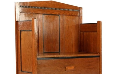 Oak bench in Art Deco style, made from headboard of a