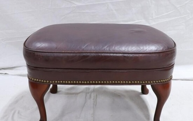 Oval Leather Stool with Queen Anne Legs
