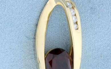 Over 4ct Garnet and Diamond Slide in 14K Yellow Gold