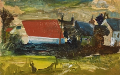 PETER LANYON   UNTITLED (RED ROOF AND YELLOW FOREGROUND)
