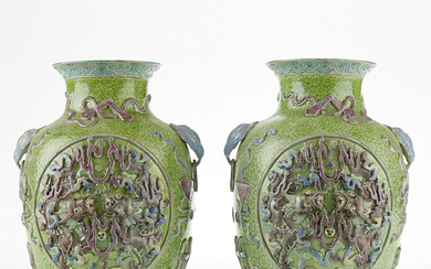 Pair 20th c. Chinese Biscuit Glazed Porcelain Vases