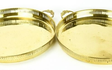 Pair Brass Serving Platters W Galleries