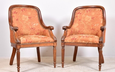 Pair Carved Mahogany Regency Style Arm Chairs