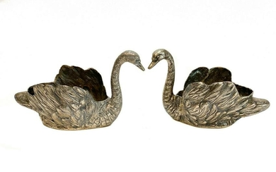 Pair Elli Coppini 800 Silver Swan Flower or Nut Bowls