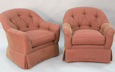 "Pair Ethan Allen upholstered chairs, ht. 33:, wd. 33""."