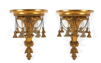 Pair Regency style carved giltwood brackets (2pcs)