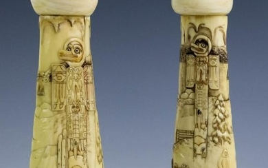 Pair Vintage Carved Inuit Totem Bone Candlesticks