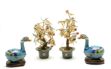 Pair of Duck Form Boxes and a Pair of Jade Flower Pots.