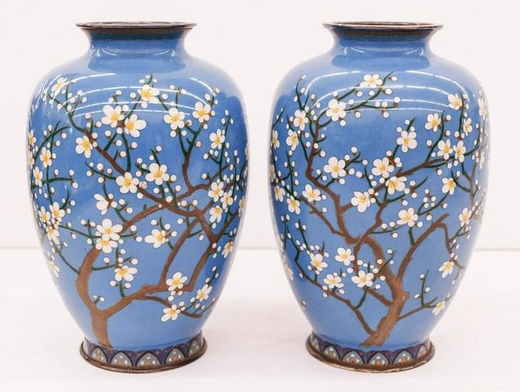 Pair of Japanese Silver Cherry Blossom Cloisonne Vases