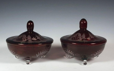 Pair of Lidded Red Ruby Czechoslovakia Candy Dishes