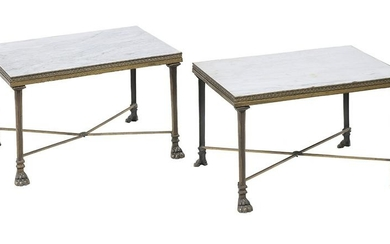 Pair of Regency-Style Marble-Top Low Tables