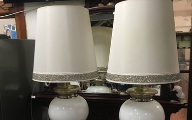 Pair of large modern, white glass and chrome table lamps (4...