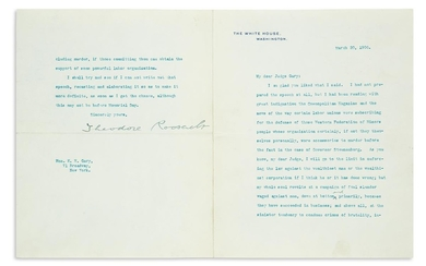 ROOSEVELT, THEODORE. Small archive of 9 Typed Letters Signed, as President, to U.S. Steel co founder Elbert Henry Gary