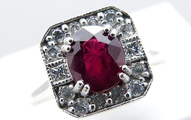 RUBY & DIAMOND PANEL RING.