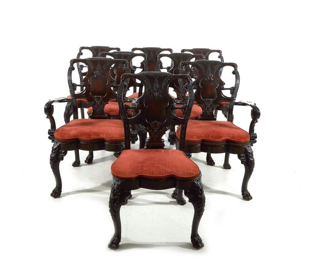 Rare Irish Chippendale style carved mahogany dining chairs (8pcs)