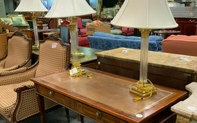 Regency style table desk with 2 brass lamps