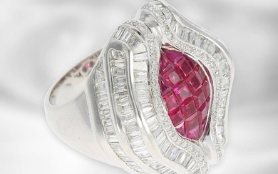 Ring: extravagant luxury diamond/ruby ring, total approx. 5.49ct, 18K white gold, sophisticated goldsmith work