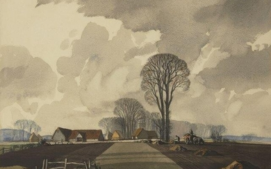 Rowland Hilder, British 1905-1993- Farm landscape; watercolour, signed and dated...