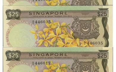 SINGAPORE Orchid Series $25 Yellow paper running