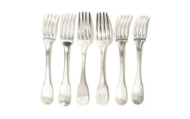 SIX 19TH C SILVER FRENCH FORKS 372g