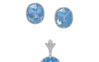 SYNTHETIC BLUE SPINEL AND DIAMOND SUITE
