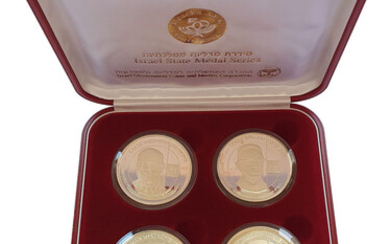 """Series of 4 Silver Medals """"Presidents of Israel"""", 104 Grams, includes """"Young Herzog"""" Rare Medal"""