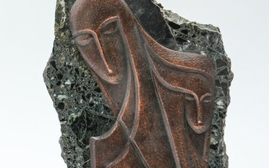Signed Israeli Modern Stylized Figural Relief