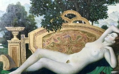 Signed Russian Oil on Canvas Reclining Female Nude