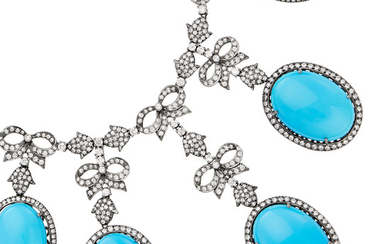 Silver, Dyed Reconstituted Turquoise and Diamond Necklace and Pair of Pendant-Earrings