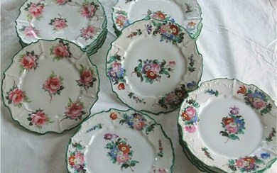 Sixteen German porcelain hand painted floral plates retailed by A Schmidt & Son NY c1925 GC3A