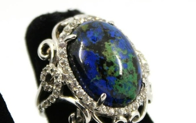 Sterling Silver, Lapis and White Topaz Ring