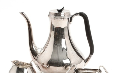 NOT SOLD. Svend Toxværd: Sterling silver coffee set. Comprising a coffee pot, a creamer and...