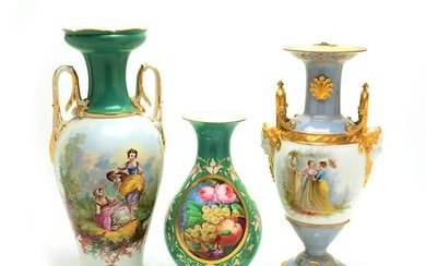 Three 19th and 20th Century Continental Porcelain Vases