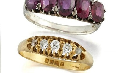 Three diamond or gem rings, comprising: an...