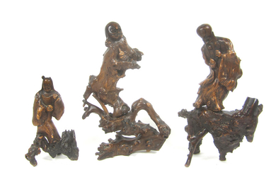Three rootwood carvings of Daoist Immortals