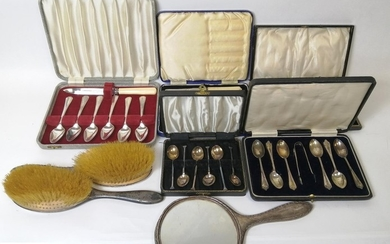 Three sets of silver coffee spoons and various silver and ot...
