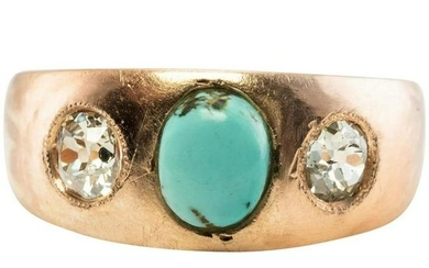 Turquoise Old Mine Diamonds Ring Imperial Russian 14K