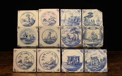 Twelve Early 18th Century Blue & White Delft Tiles painted with figural scenes in roundels and decor