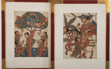 Two Woodblock (Prints) Mughal Style on Fabric