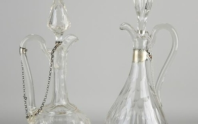 Two crystal carafes with silverware, 833/000, carafes