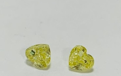 Two natural yellow (pair) heart shape diamond,1ct total,si2...