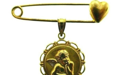 VINTAGE ITALY 14k Yellow Gold Heart & Angel Safety Pin