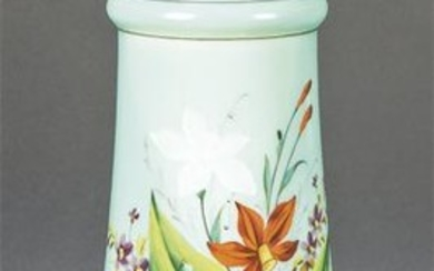 Vase in turquoise opaline with hand-painted floral