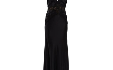 Vintage Versace Black Silk and Lace Gown
