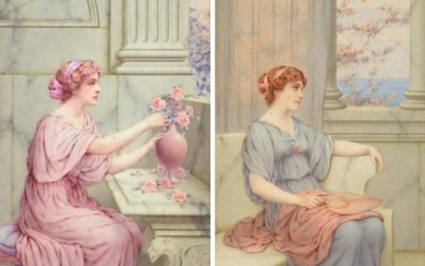 William Anstey Dolland (1858-1929) ''Spring'' ''Summer'' Signed, watercolour, 45.5cm by...