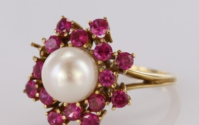 Yellow Gold (tests 14ct) Pearl and Pink Sapphire Ring (one s...