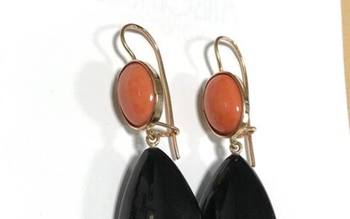 14 kt. Pink gold - Earrings coral Sciacca jet black
