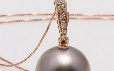 14 kt. Rose Gold - 12x13mm Round Tahitian Pearl