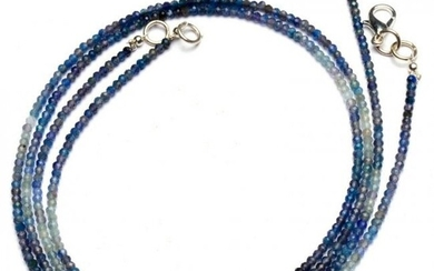 17.00 ct. Natural Blue Sapphire Rondelle Beads Necklace
